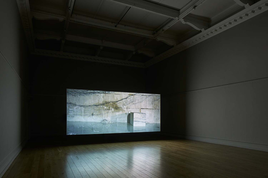 Amie Siegel, Quarry, 2015. HD video, color/sound. Exhibition view South London Gallery, 2017. Courtesy the artist and Simon Preston Gallery, New York. Photo: Andy Stagg.