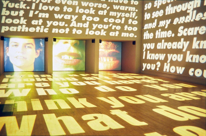 Installation view of Barbara Kruger's 2001 exhibition Power Pleasure Desire Disgust.