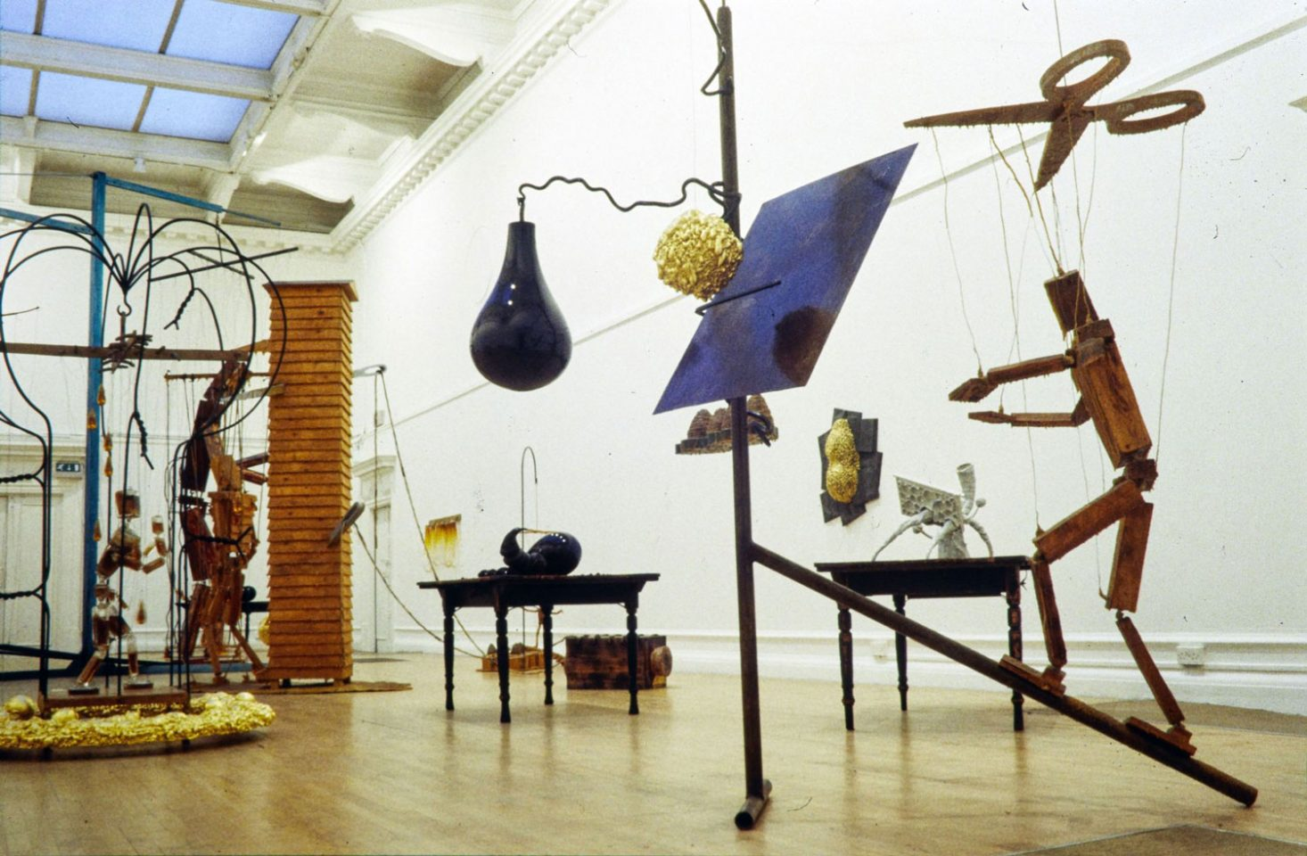 Installation view of Bill Woodrow's 2001 exhibition The Beekeeper.