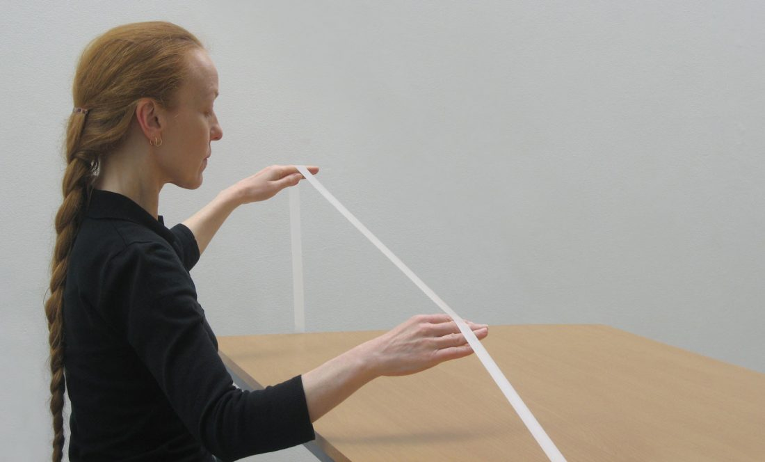 <p>Installation view of performance in Marie Cool Fabio Balducci: Untitled 2006-2009. Marie Cool demonstrates a series of 'exercises' in the main space. Photo: Andy Stagg</p>