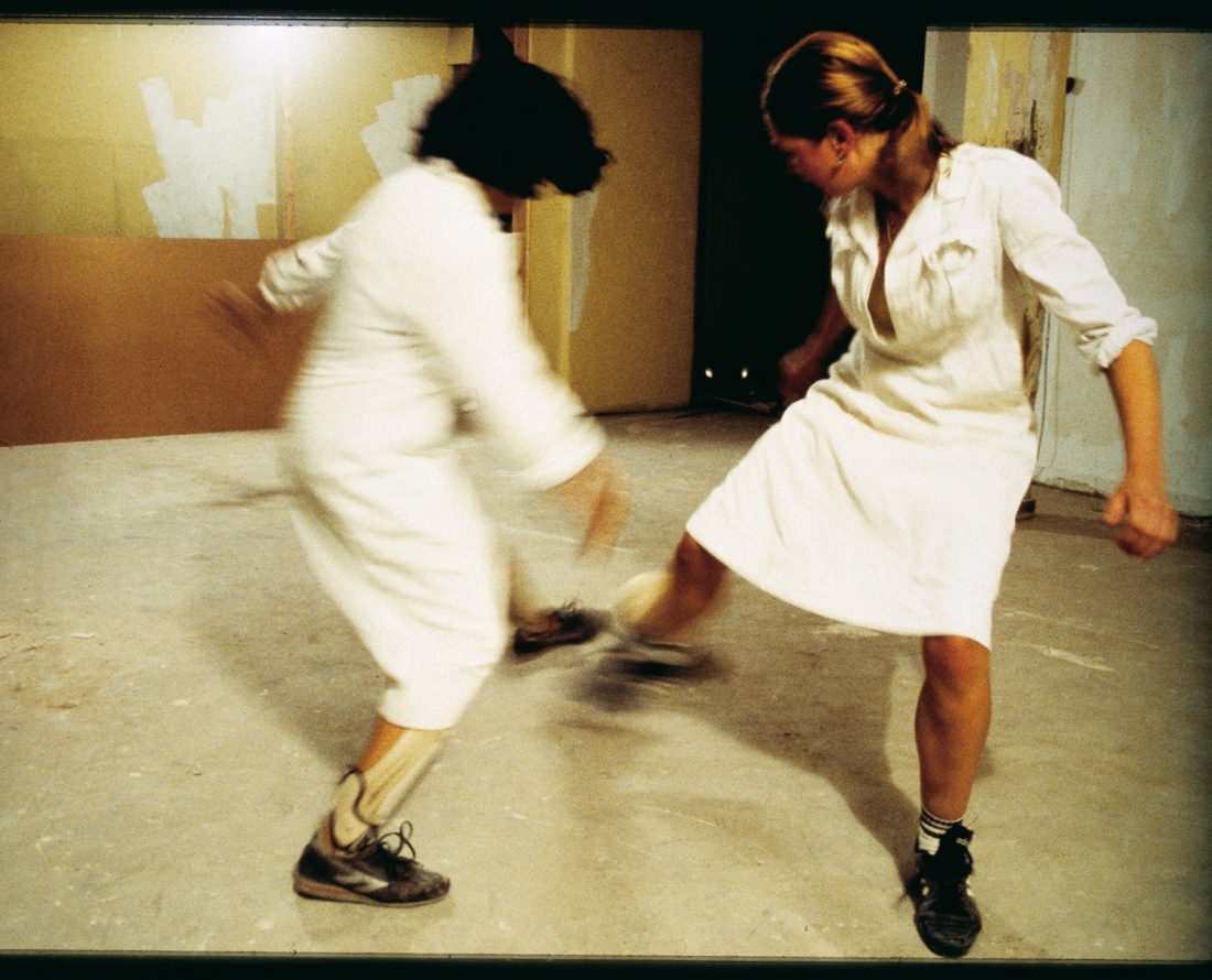 <p>Lucy Gunning,<em> The Footballers</em> (1994-96), production still. Courtesy: the artist and Matt's Gallery</p>