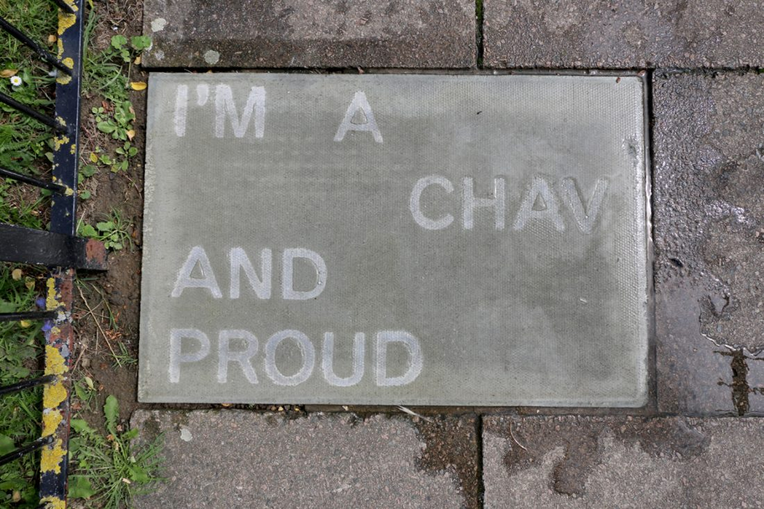<p>Jessie Brennan, <em>I'm a chav and proud, </em>2017, text in water-repellent spray, (words by Jenny), temporarily sited on Pelican Estate. Photo: Jessie Brennan</p>