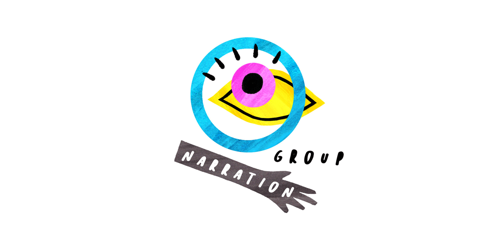 Narration Group. Logo including a circle, an eye and a hand