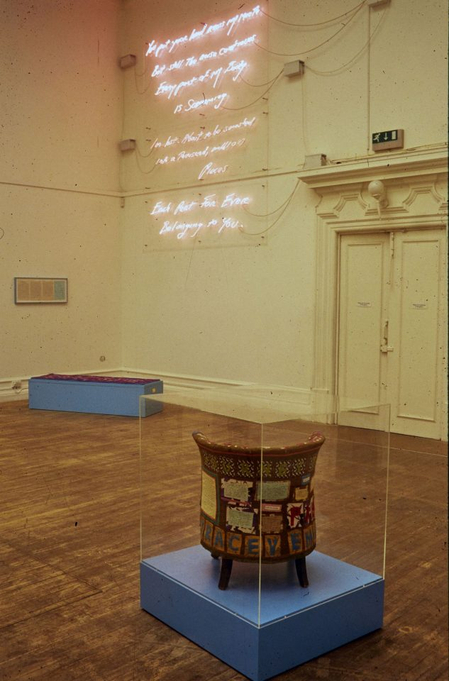 Installation view of Tracey Emin's exhibitionI Need Art Like I Need Godat the South London Gallery, 1997