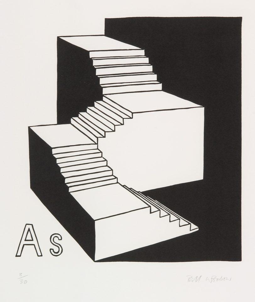 <p>Bill Woodrow, <em>Periodic Table 13</em>, 1994,linocut on paper</p>