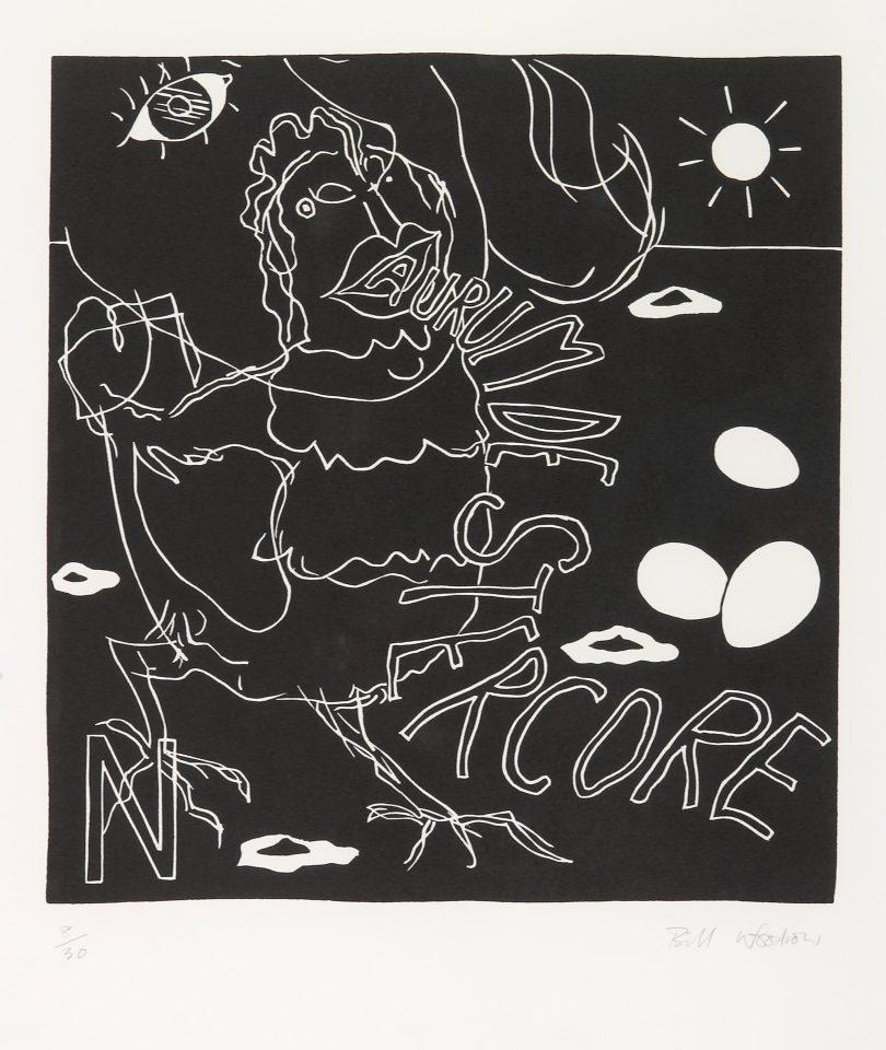 <p>Bill Woodrow, <em>Periodic Table 14</em>, 1994,linocut on paper</p>