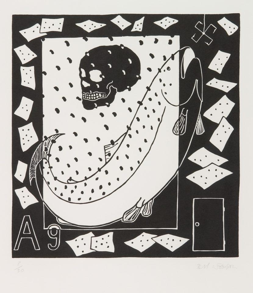<p>Bill Woodrow, <em>Periodic Table 17</em>, 1994,linocut on paper</p>