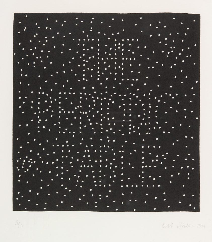 <p>Bill Woodrow, <em>Periodic Table 19</em>, 1994,linocut on paper</p>
