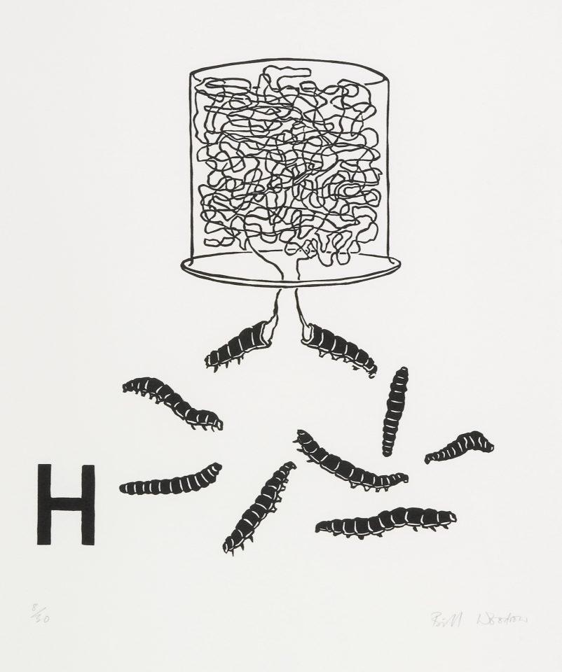 <p>Bill Woodrow, <em>Periodic Table 2</em>, 1994,linocut on paper</p>