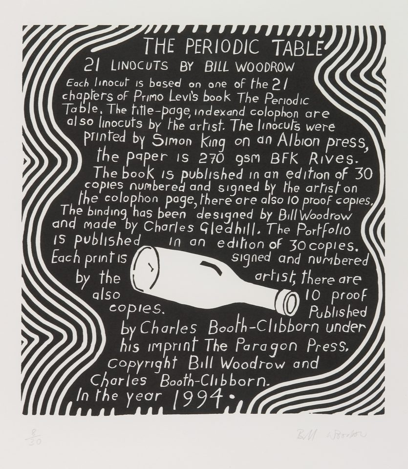 <p>Bill Woodrow, <em>Periodic Table 21</em>, 1994,linocut on paper</p>