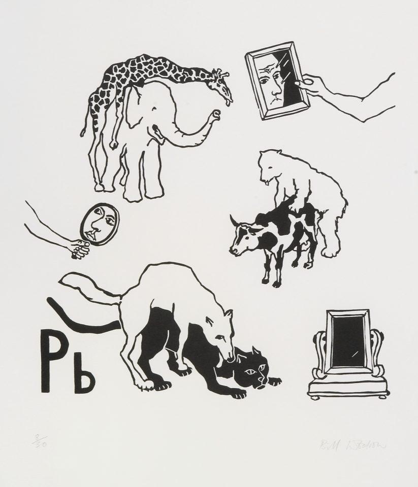 <p>Bill Woodrow, <em>Periodic Table 6</em>, 1994,linocut on paper</p>