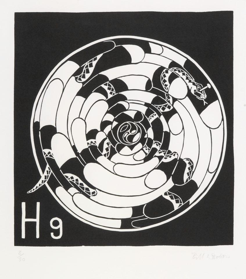 <p>Bill Woodrow, <em>Periodic Table 7</em>, 1994,linocut on paper</p>