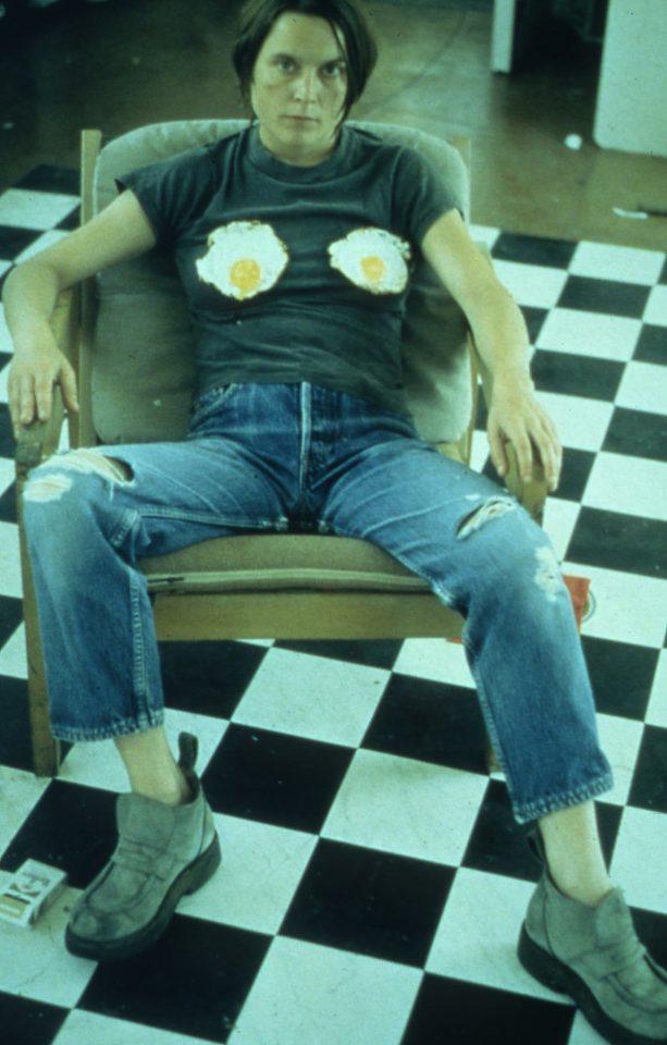 <p>Sarah Lucas, Self Portrait with Fried Eggs, 1996,iris prints on paper</p>