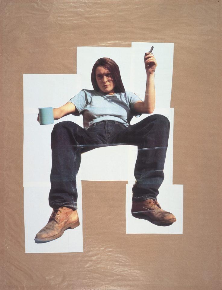 <p>Sarah Lucas, Self Portrait with Mug of Tea, 1993,iris prints on paper</p>