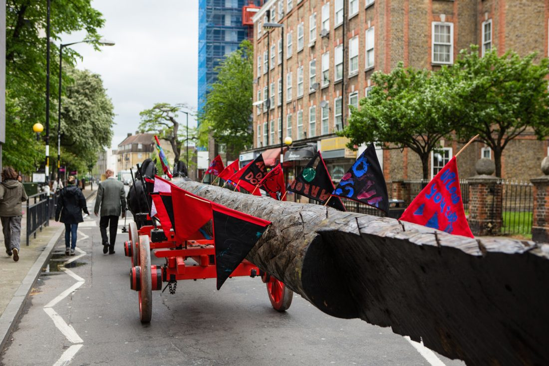 <p>The tree transported by students through Camberwell as part of Heather and Ivan Morison's <em>Shadow Curriculum</em>, 2013-2015. Photo: Wig Worland</p>