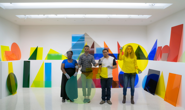 Installation view of Amalia Pica's, A ∩ B ∩ C, 2013 in Under the Same Sun: Art from Latin America Today, © Amalia Pica Photo: David Heald © Solomon R. Guggenheim Foundation