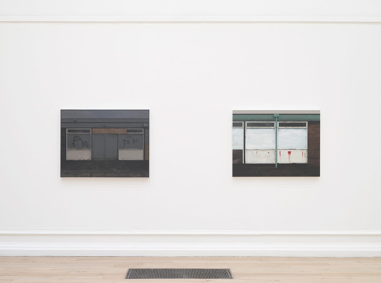 Installation view of George Shaw's paintings in his 2011 exhibition The Sly and Unseen Day in the Main Galleries. Photo: Andy Keate