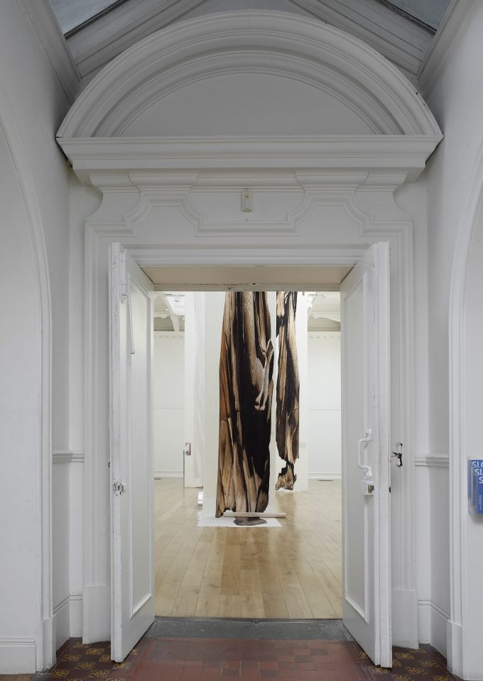 Installation view of Alice Channer's 2012 exhibition Out of Bodyin the Main Galleries. Photo: Andy Keate