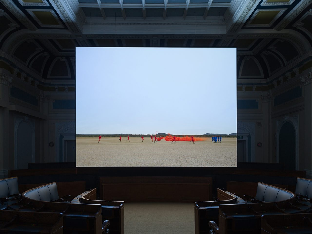 Installation view of the 2012 exhibition Pursuit of Perfection: the Politics of Sport. Taken off site, this picture shows a video work installed in the Southwark Old Town Hall.