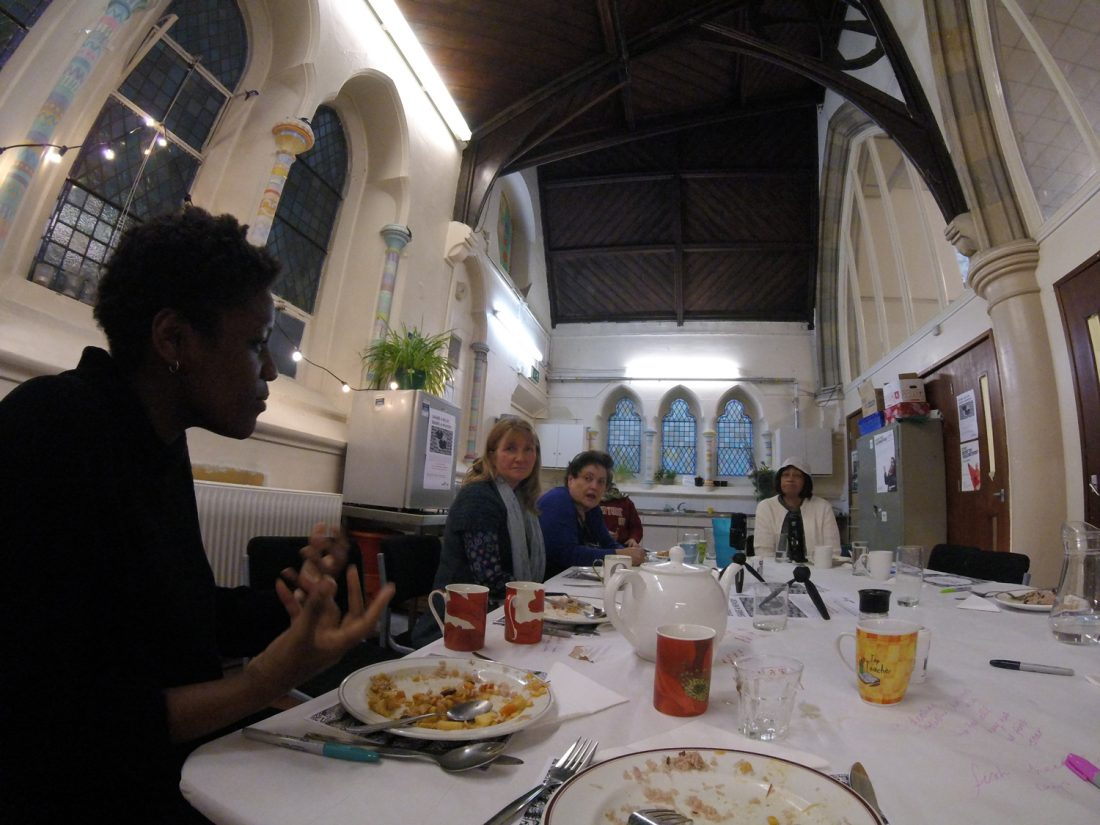 <p>Image: the group enjoy a meal at the Copleston Centre, image: Anna Merryfield and Shamica Ruddock, <em>The Archive is Personal</em>, 2018</p>