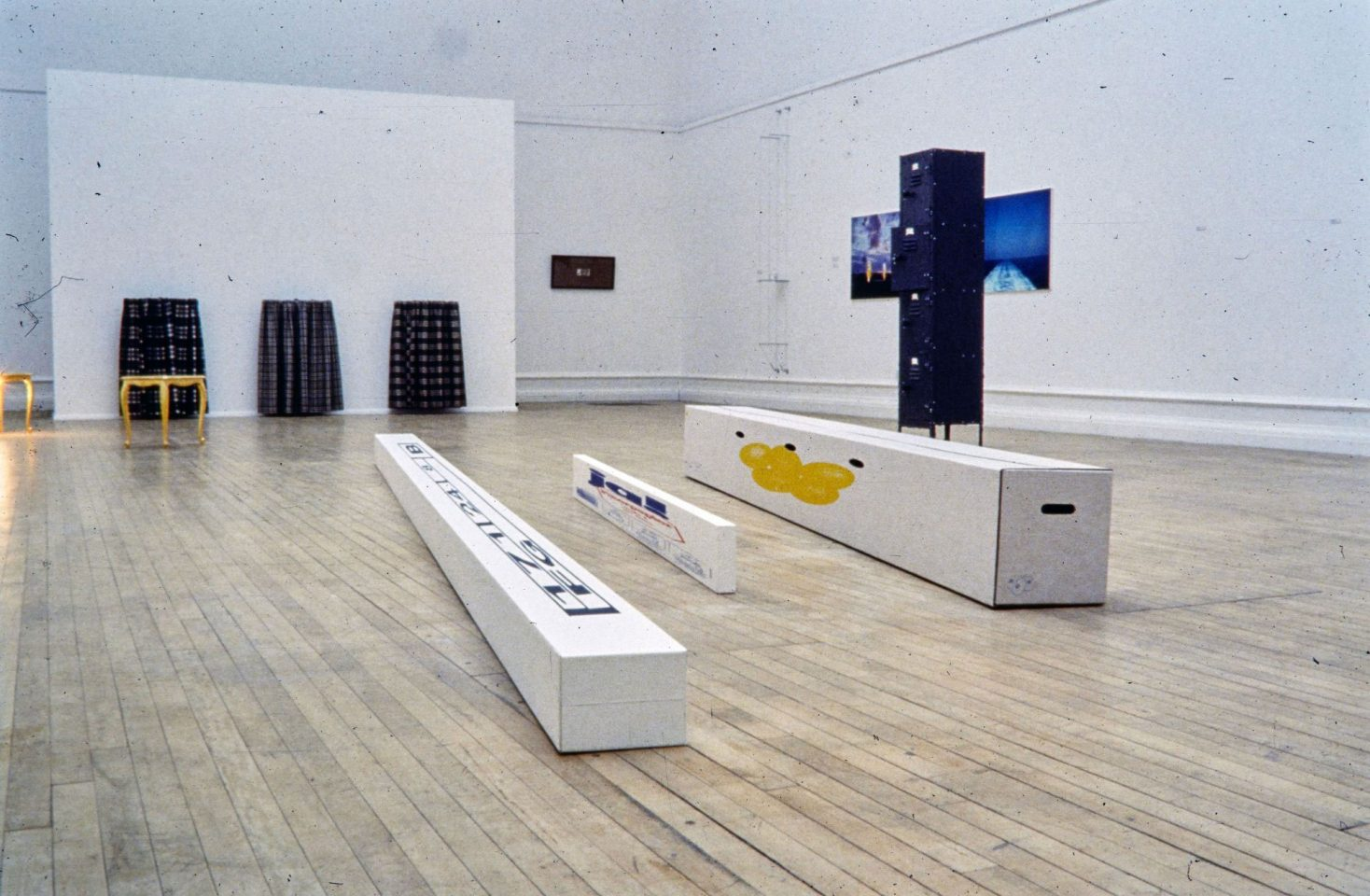 Installation view from Refusing to Surface: Art and the Transfiguration of the Ordinary featuring Guillaume Bijl, Joan Brossa, Philippe Cazal, Tony Carter, Leo Copers, Thomas Grunfeld, Richard Hamilton, Yves Klein, Ange Leccia, Simon Linke, Caroline Russell, Haim Steinbach, Rosemarie Trockel, Peter Zimmerman.