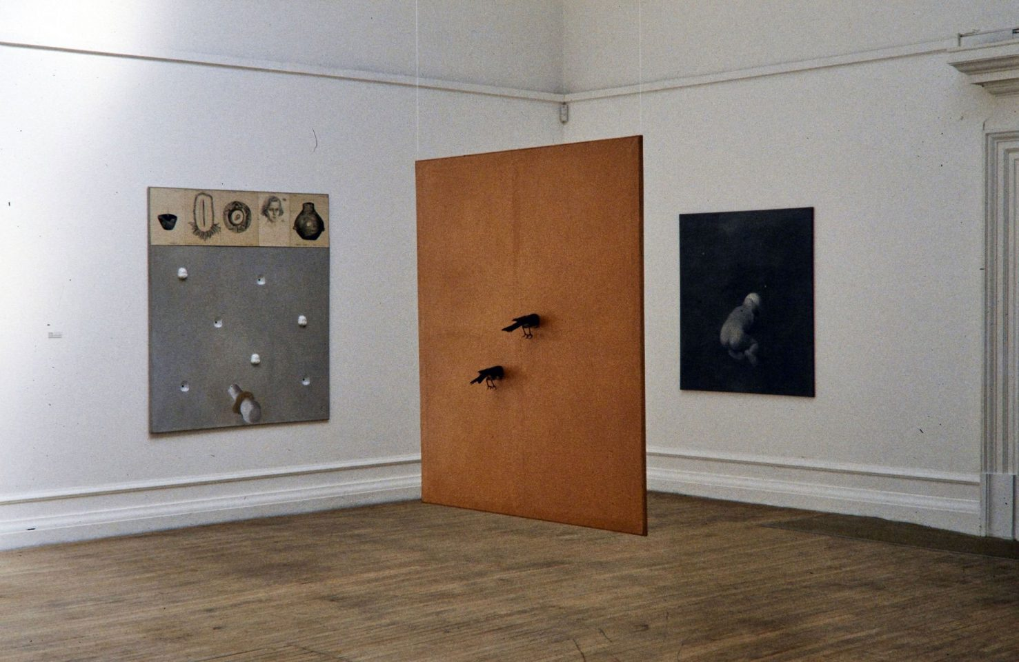 Installation view of 1994 exhibition Distant Voices: Contemporary Art from the Czech Republic featuring artists Milena Dopitova, Petr Nikl, Vaclaw Stratil, Ivan Kafka.