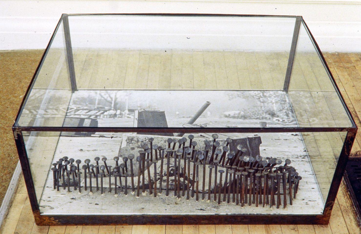 Installation view of Vivan Sundaram's Map, Monument, Fallen Mortal.