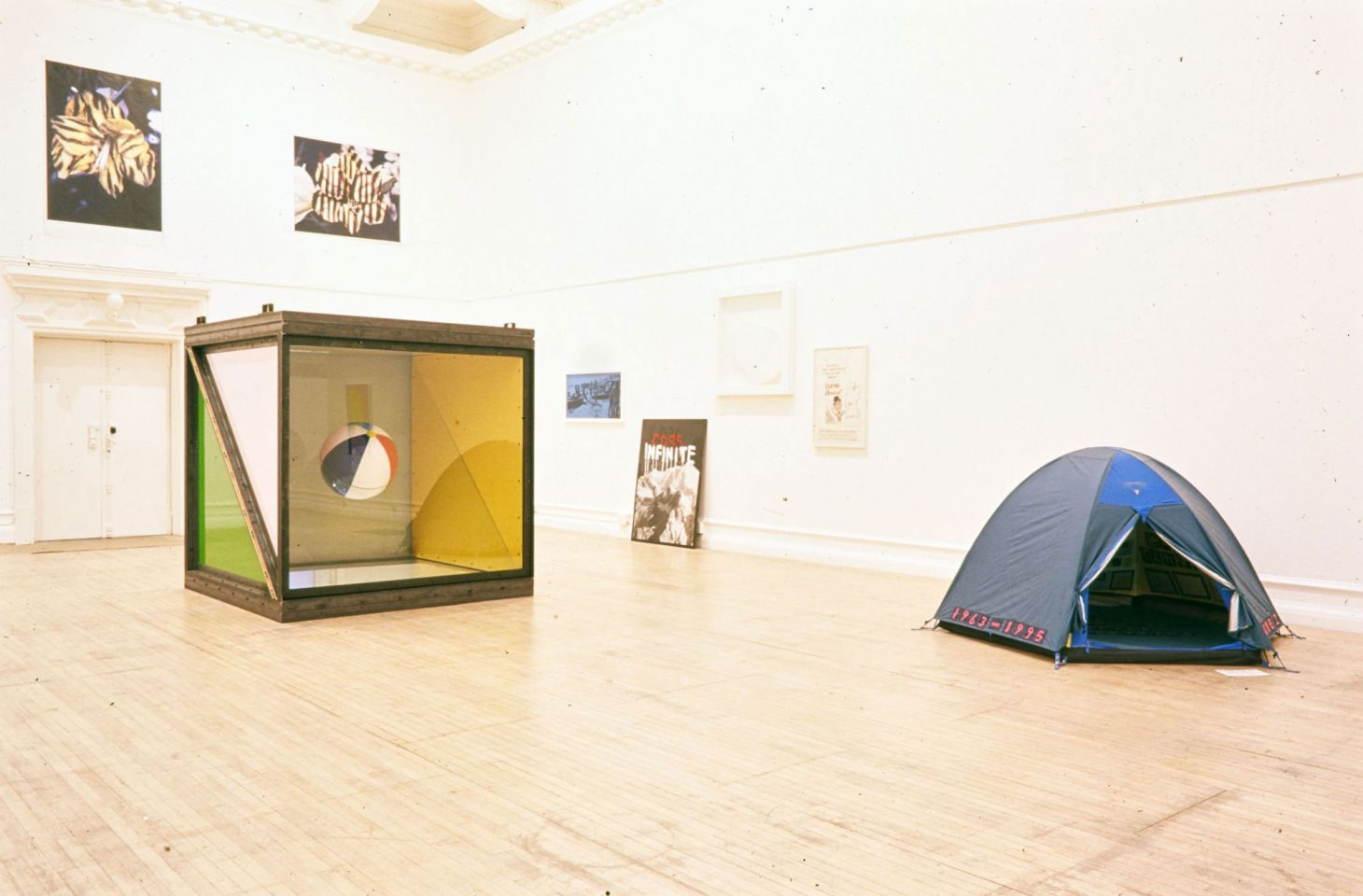 Installation view of 1995 exhibition Minky Manky including work by Sarah Lucas, Tracey Emin, Gary Hume, Damien Hirst, Matt Collishaw, Critial Decor, Stephen Pippin, Gilbert and George. Curated by Carl Freedman.