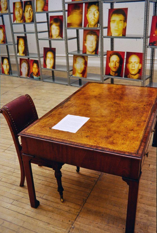 Installation view of Zarina Bhimki's 1995 exhibition 1822-Now.