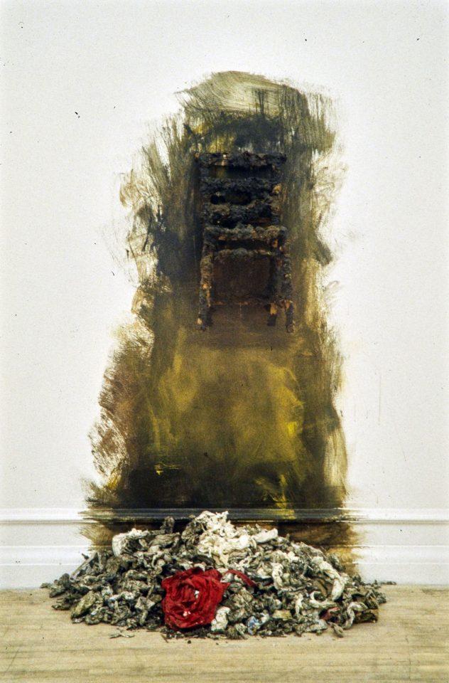 Installation view from Stuart Brisley's 1996 exhibition Black.