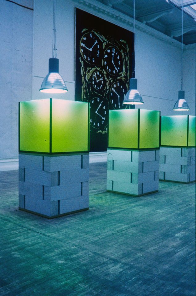 Installation view from Twin Gabriel's 1997 exhibition Floating – Floccinaucinihilipilification.