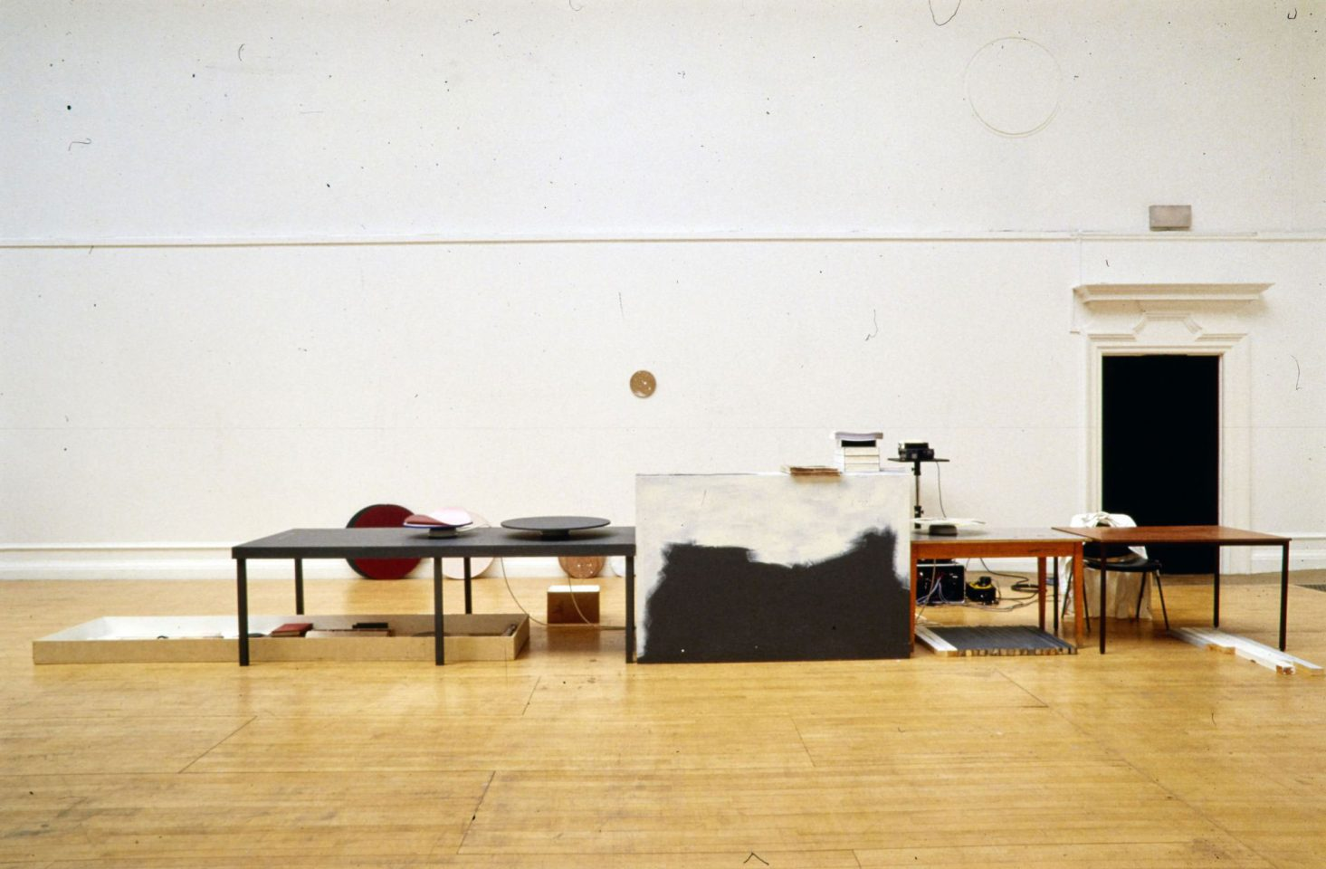 Installation view of Joelle Tuerlinckx's 2002 exhibition In Real Time: Space Parts, Solar Room, Night Cabin .