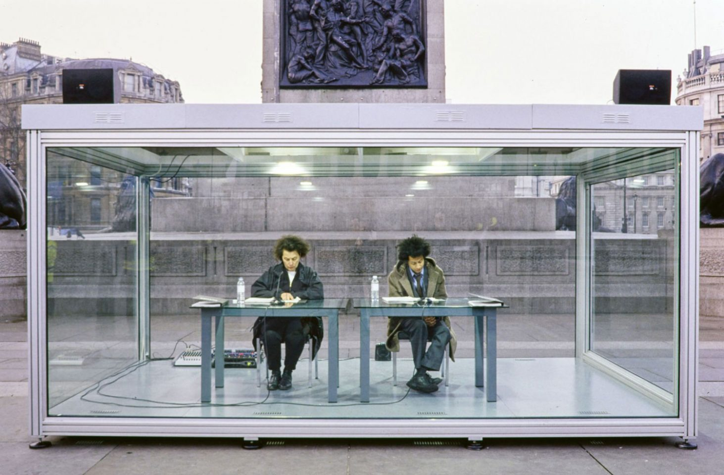 Installation view of On Kawara: Reading One Million Years (Trafalgar Square).