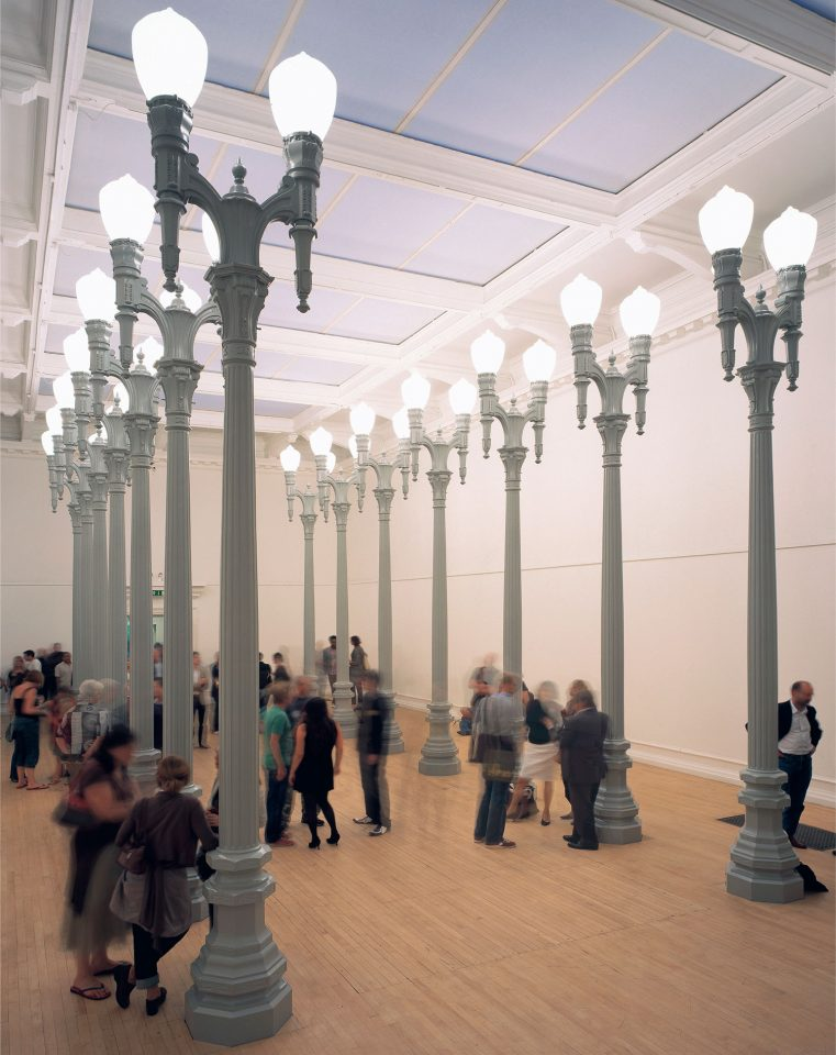 Installation view of Chris Burden's 2006 exhibition Magnolia Double Lamps. Photo: Andy Stagg