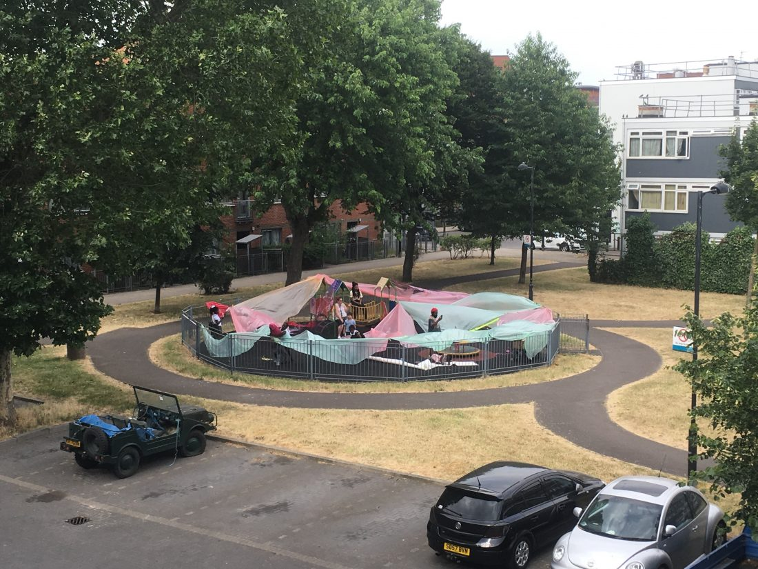 <p>Shepherd Manyika, <em>Let's Decorate the Playground</em>, Elmington Estate. Photo: Samantha Lippett</p>