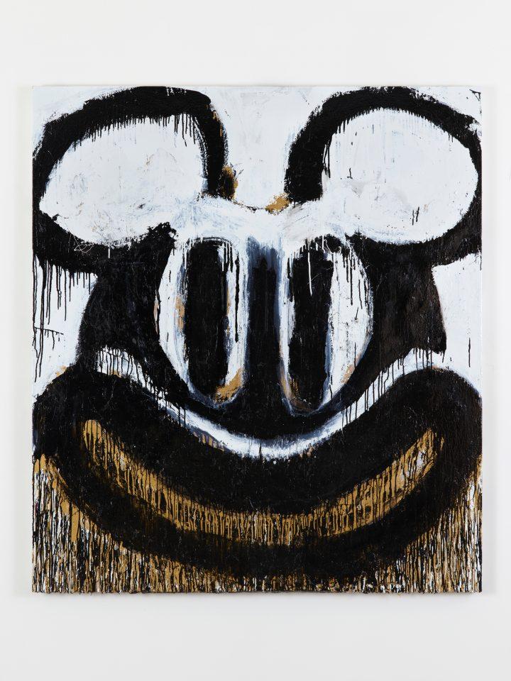 Joyce Pensato, Black and White Mickey, 2018