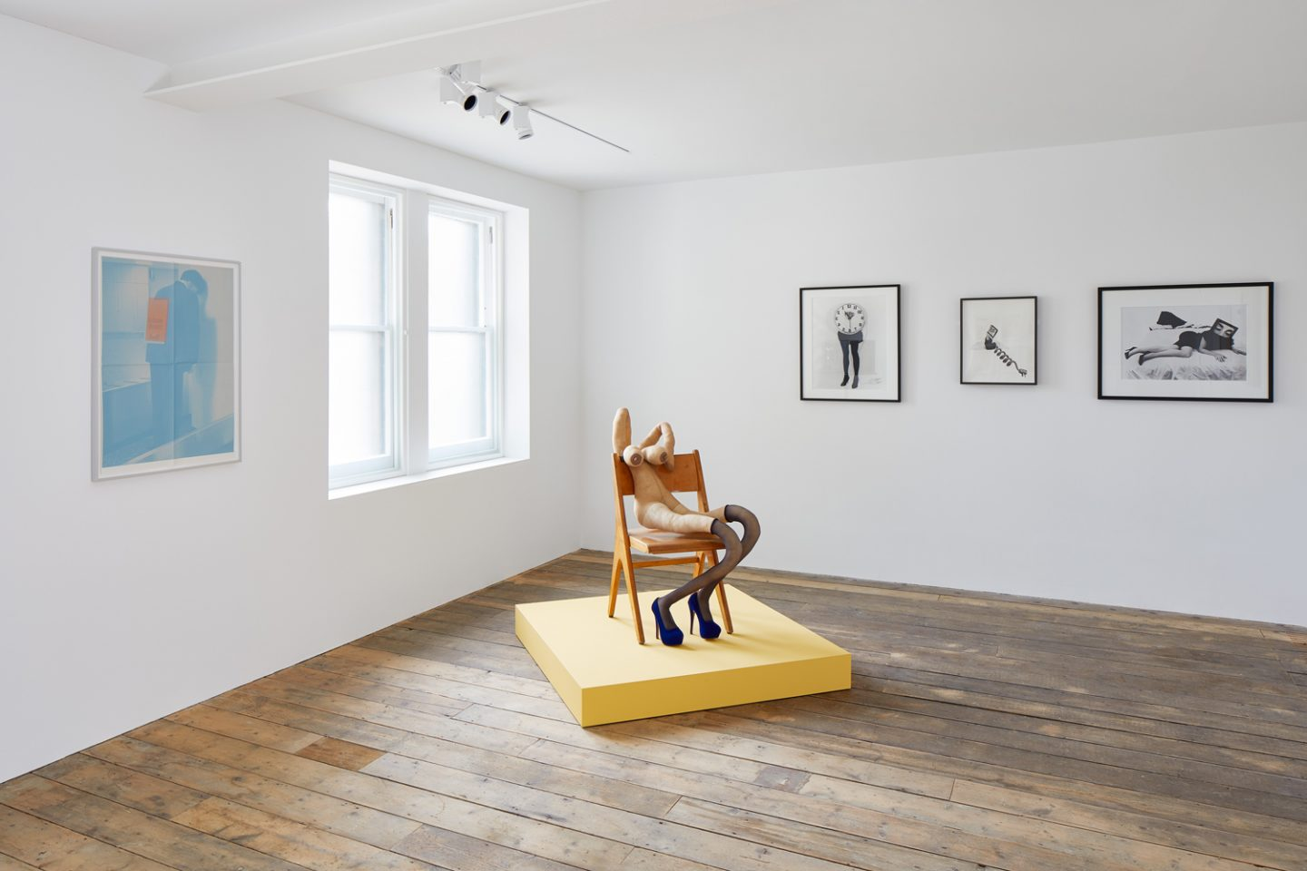 Installation view of KNOCK KNOCK at South London Gallery (22 September – 18 November 2018) Pictured: Campaign Volunteer (2018) by Rosemarie Trockel,  Yves (2018) by Sarah Lucas and Biological Clock 2(1995), Call Me (1987) and Seduction (1985) by Lynn Hershman Leeson Photo: Andy Stagg