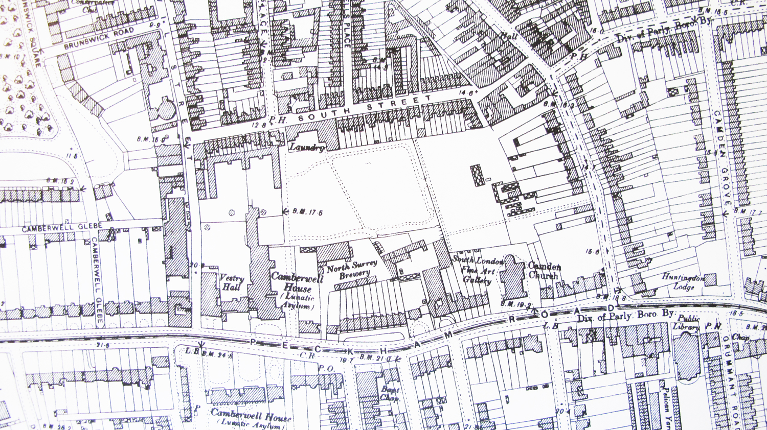 Archival map of Peckham and Camberwell