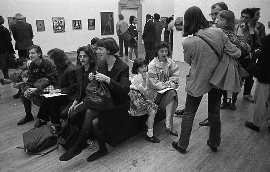 <p>A young Tracey Emin is photographed in the gallery at the 1991 exhibition <em>A Slice of Southwark: Southwark Open Exhibition (Centenary Year)</em>, to which she submitted a work</p>