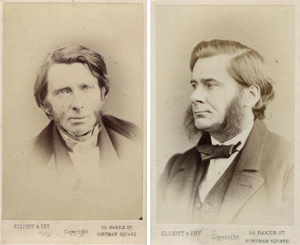 <p>Elliott &amp; Fry, <em>John Ruskin</em>, 1867. National Portrait Gallery/Elliott &amp; Fry, <em>Thomas Henry Huxley</em>, c. 1874. National Portrait Gallery</p>