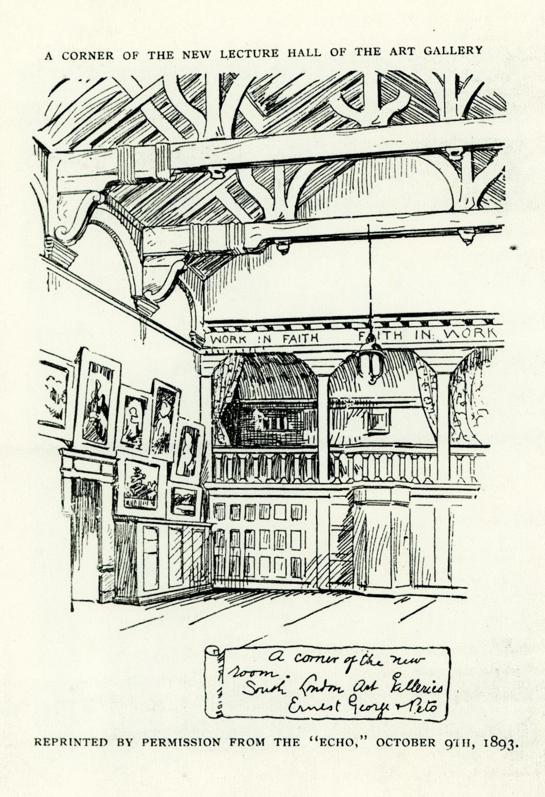 <p>A drawing of the Lecture Hall at the South London Art Gallery. South London Gallery Archive</p>