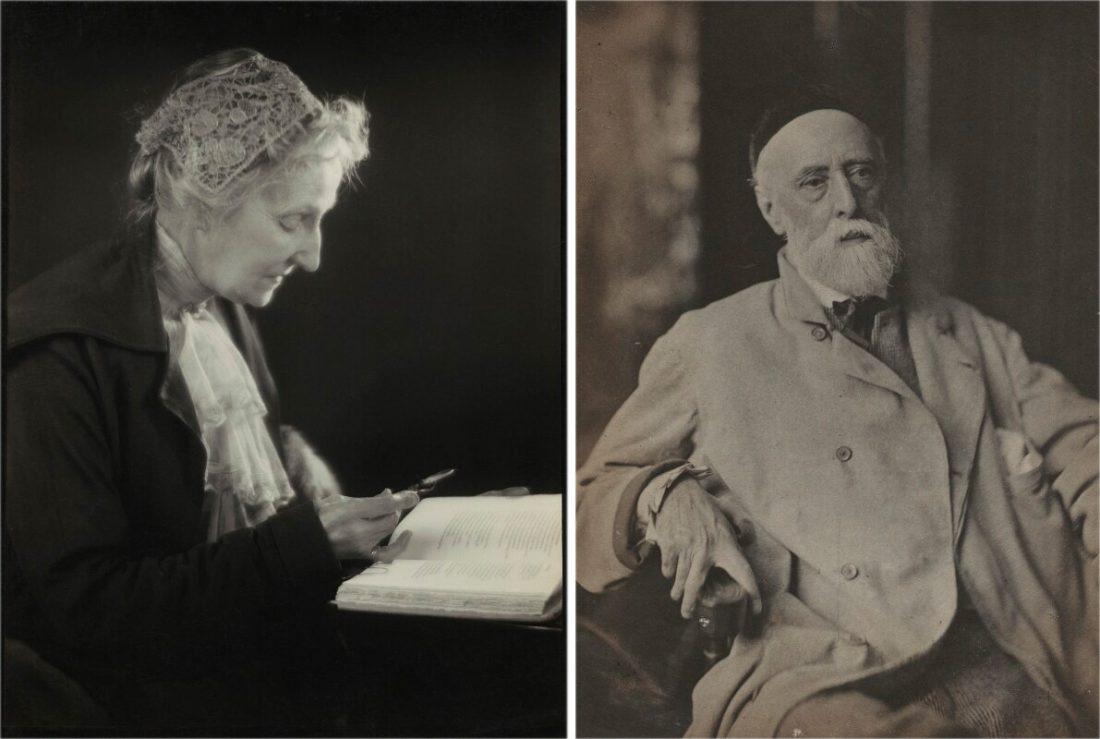 <p>Herbert Lambert, <em>Mary Seton Watts</em>, early 1920s. National Portrait Gallery/Frederick Hollyer, <em>George Frederic Watts</em>, 1880. National Portrait Gallery</p>