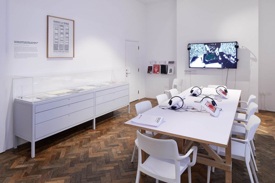 <p>Installation view of <em>Revisiting Women and Work, </em>Archive, South London Gallery Fire Station. Photo: Andy Stagg</p>