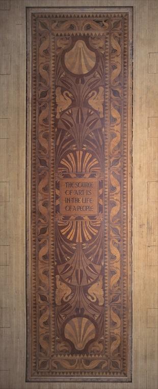 <p>Walter Crane, inlaid wooden floor panel, SLG.</p>
