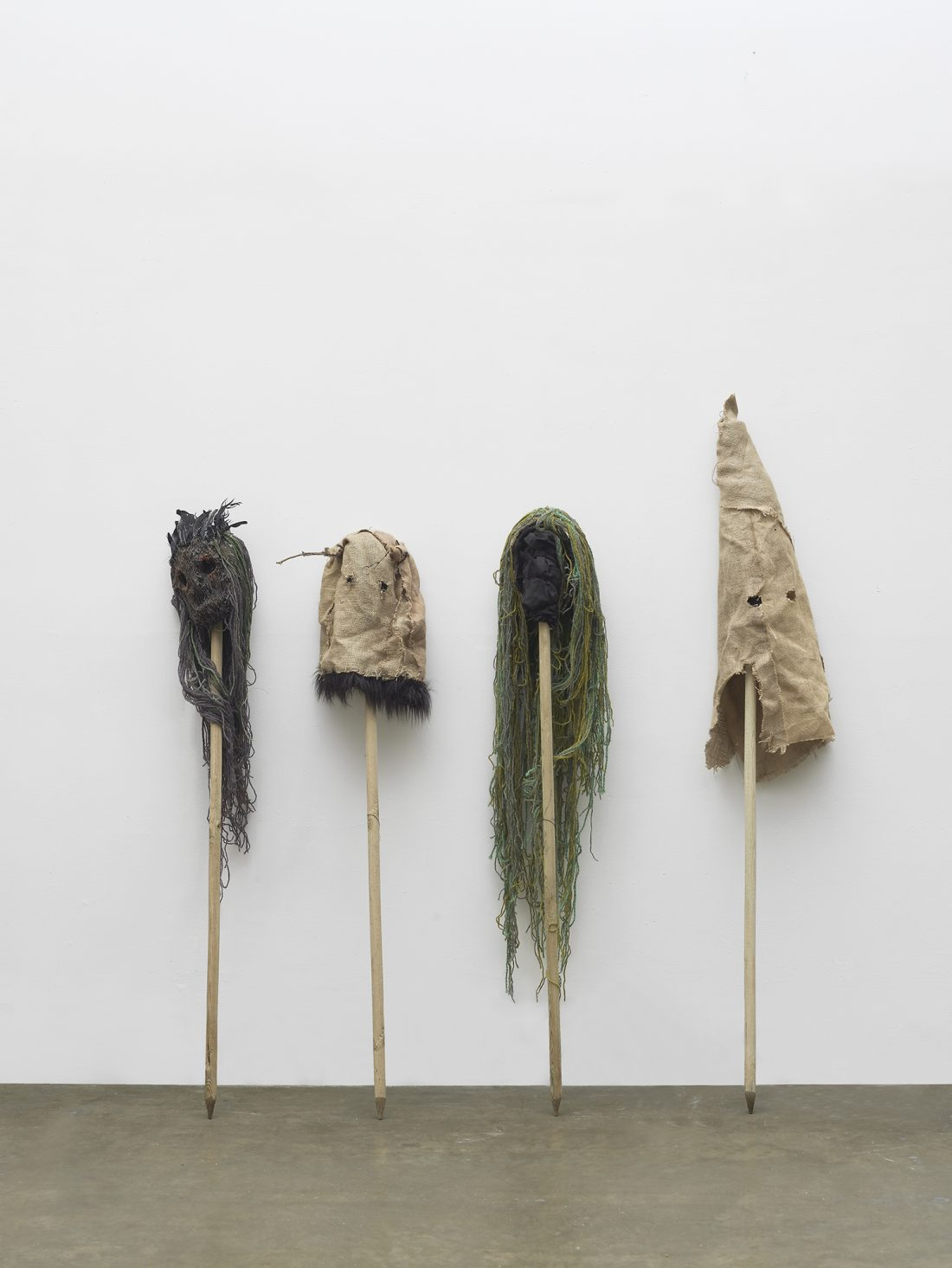 <p>Carrie Grainger, <em>The forest has eyes</em>, 2017, Hessian, wood, yarn, plaster, hot melt, horse hair, feathers, twigs and soil, 200 x 180cm x 30 cm (each)</p>
