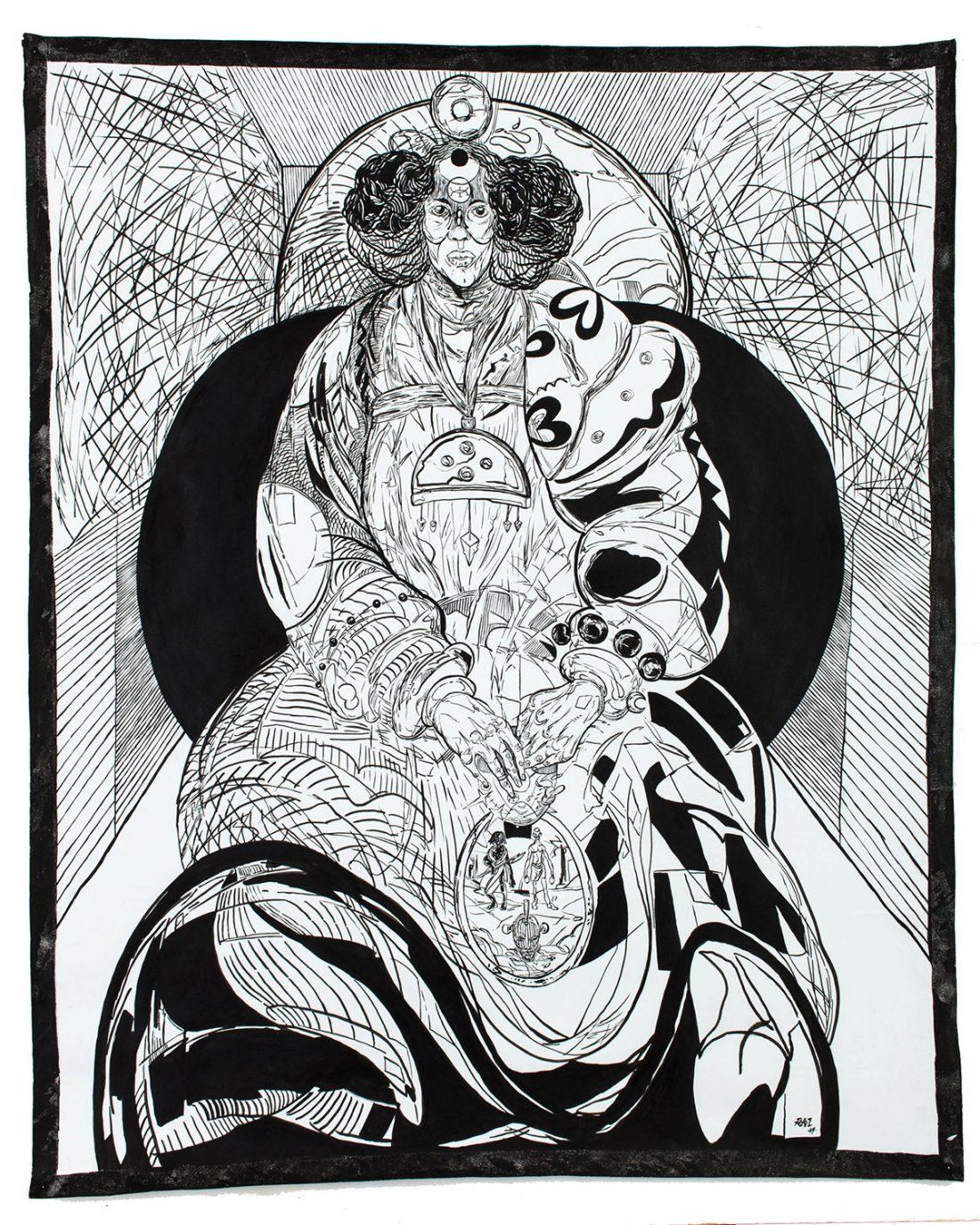 <p>Richard Ayodeji Ikhide, <em>IYA</em>, 2017, Acrylic ink on paper, 103 x 90 cm</p>