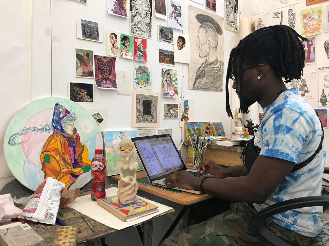 <p>Richard Ayodeji Ikhide in his studio</p>