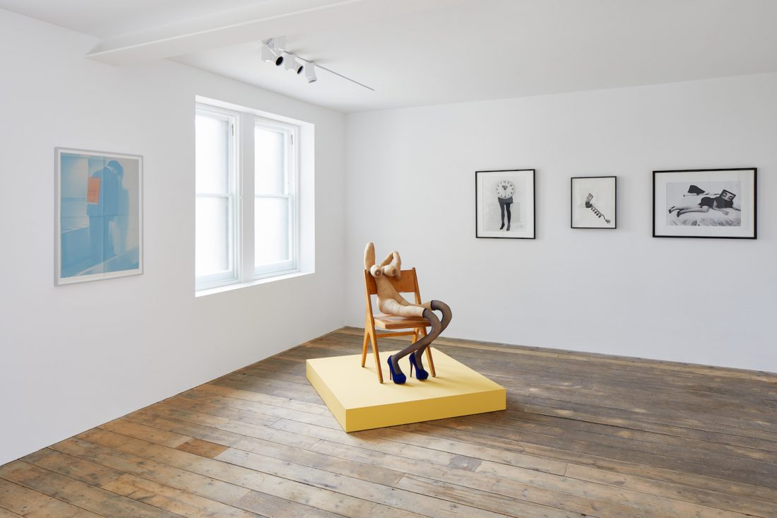 <p>Installation view: KNOCK KNOCK at South London Gallery (22 September – 18 November 2018)<br /> Pictured: <em>Campaign Volunteer </em>(2018) by Rosemarie Trockel,  <em>Yves</em> (2018) by Sarah Lucas and <em>Biological Clock 2</em>(1995), <em>Call Me</em> (1987) and <em>Seduction </em>(1985) by Lynn Hershman Leeson<br /> Photo: Andy Stagg</p>
