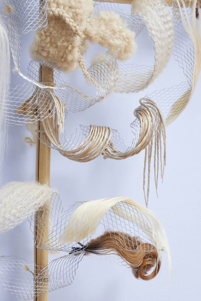 Hair sculpture by Virginie Pinto Moreira (detail) in Liz Johnson Artur: If you know the beginning, the end is no trouble at the South London Gallery, 2019. Photo: Andy Stagg