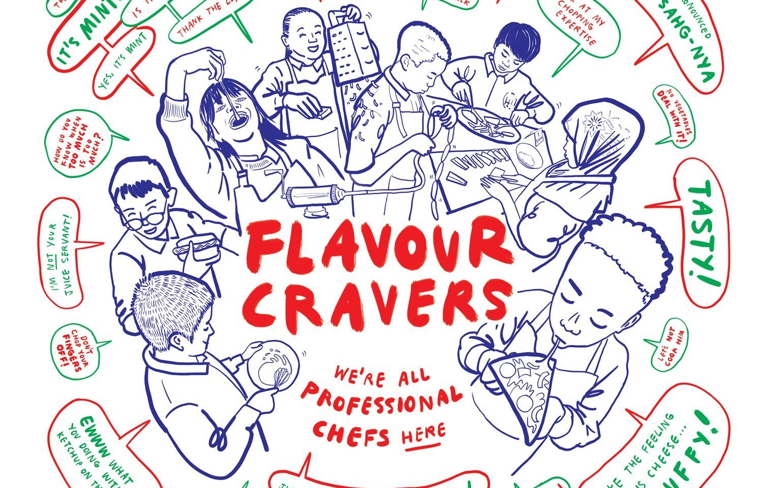 An illustration of the children from the Big Family Press and Flavour Cravers project, eating food, with speech bubbles sharing quotes from the sessions